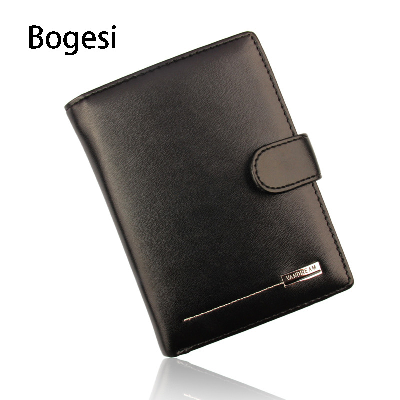 Bogesi New 2018 Genuine Leather Men Wallets Short Coin Purse Small Wallet Cowhide Leather Card Holder Pocket Purse Men Wallets dalfr genuine leather mens wallets card holder male short wallet 6 inch cowhide vintage style coin purse small wallet