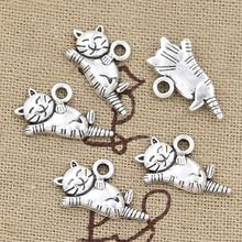 Wholesale Charms cat 20*12mm 50pcs free shipping Vintage Pendant Antique sliver Fit Necklace DIY Metal Retro Jewelry