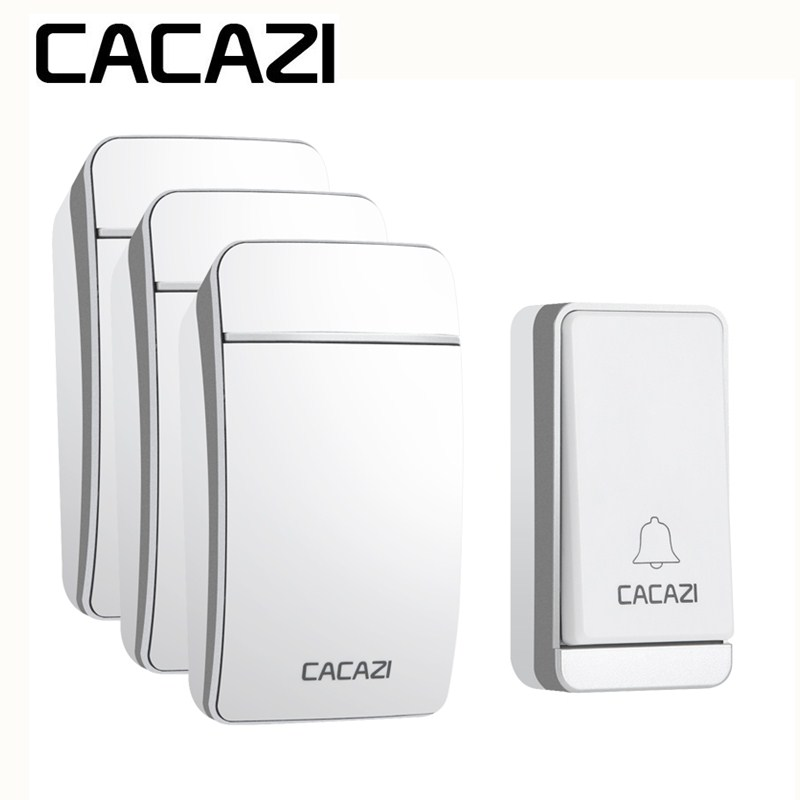 лучшая цена CACAZI Smart Self-Powered Wireless Doorbell No Battery Waterproof Home Cordless US EU UK AU Plug 200M Remote Control 38 Songs