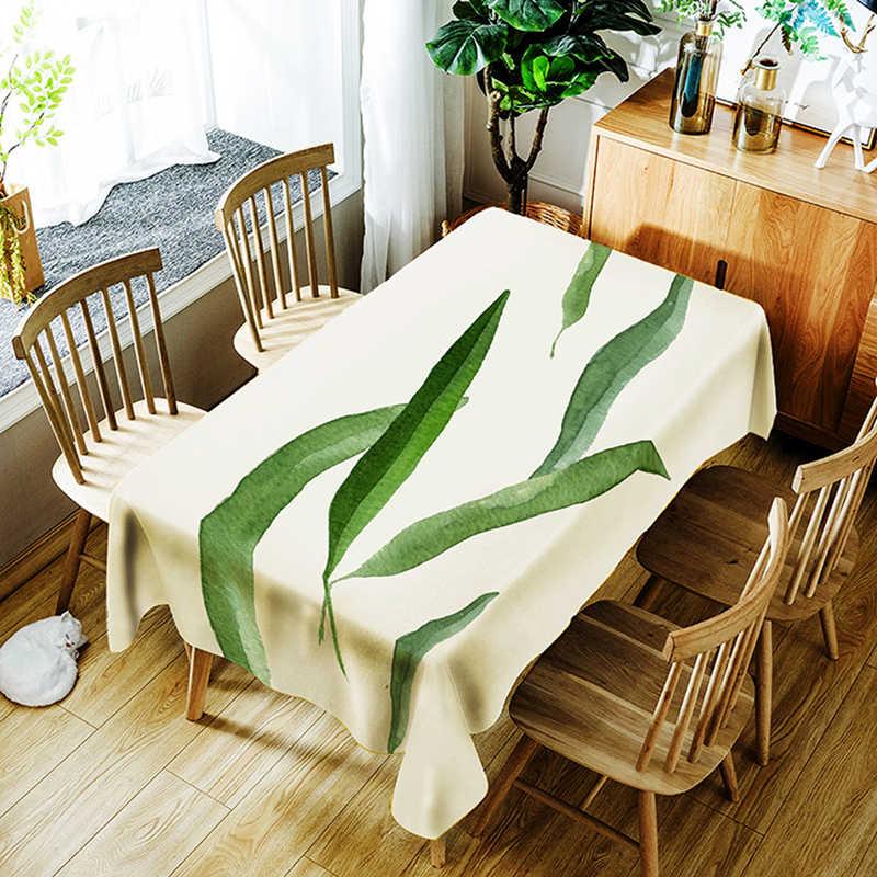 3d Tafelkleed Digital Printing Tropische Bladeren Bloem Patroon Polyester Waterdicht Tafelkleed voor Bruiloft Tafel Cover