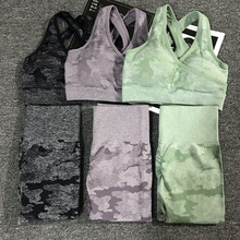 2PCS/Set Camouflage Yoga Set Women Seamless Fitness Yoga Bra Sports Bra High Waist GYM Camo leggings Pants Fitness Suits Workout(China)