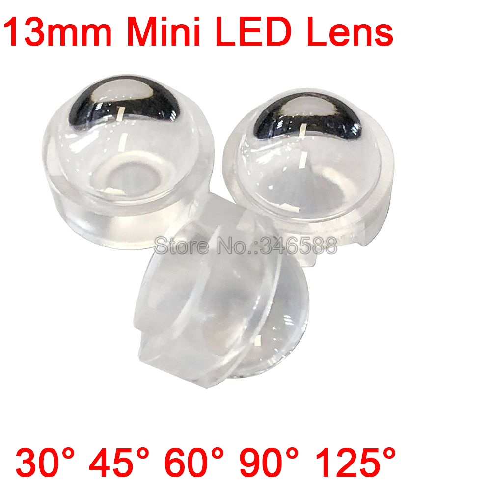 10pcs 13mm Convex LED Lens <font><b>Reflector</b></font> Collimator 30 45 60 <font><b>90</b></font> <font><b>120</b></font> Degree No Need Holder / Fixation for 1W 3W 5W High Power LEDs image
