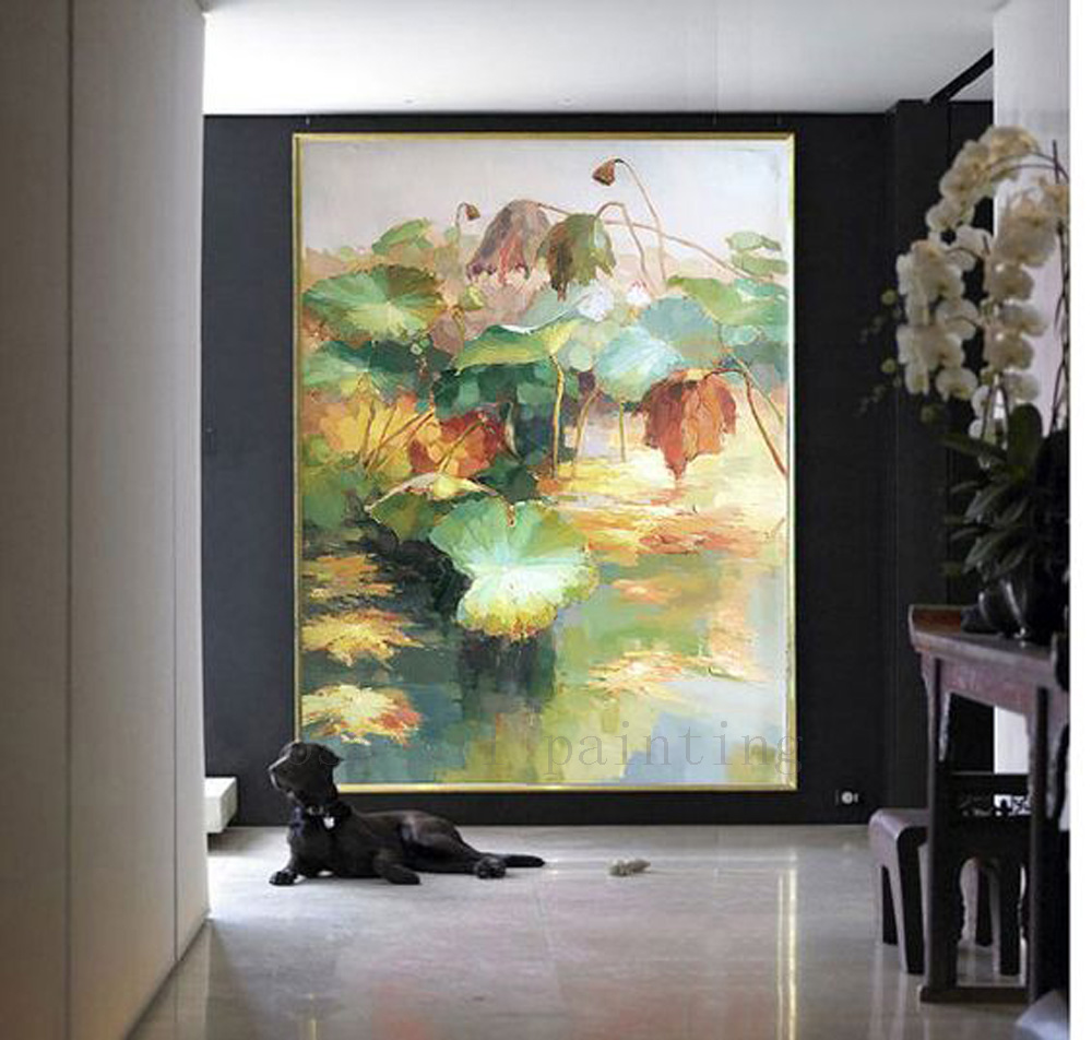 Hand Painted Landscape Oil Painting Large Modern Abstract Flower in the Pond Home Decorative Handmade Wall Canvas Lotus Artwork