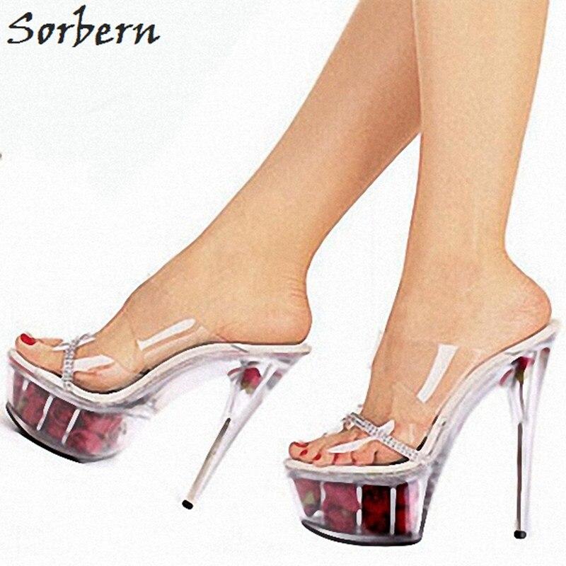 Здесь продается  Sorbern Sexy Clear Pvc Slippers Woman Shoes 2018 Spring Summer Slides Transparent Shoes Ladies Custom Color Badslippers Dames  Обувь