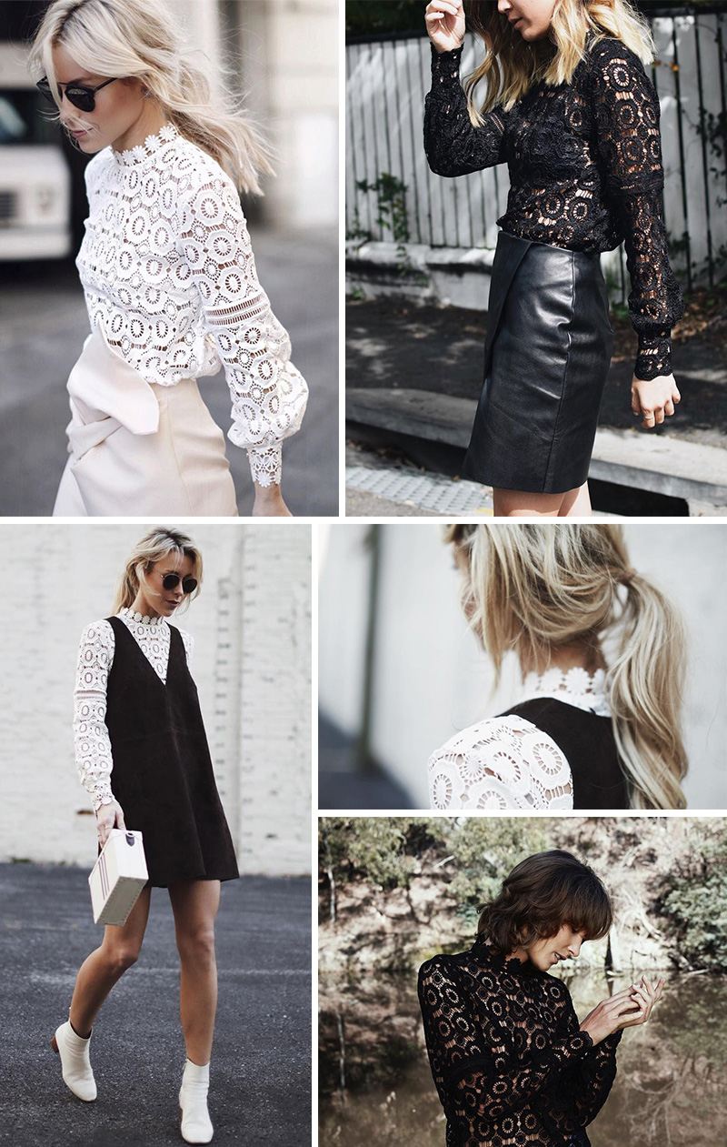 Vintage Black White Floral Lace Hollow Out Crochet Long Sleeve Blouse Shirt 1