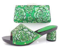 Grün Italienische schuhe mit passender tasche mit strass, offene spitze stil high heels für hochzeit/party, freies Verschiffen! HBQ1-19
