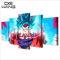 5 Piece Wall Canvas Animation Painting Modern Printed Movie Dragon Ball Z Pictures Poster Canvas Art