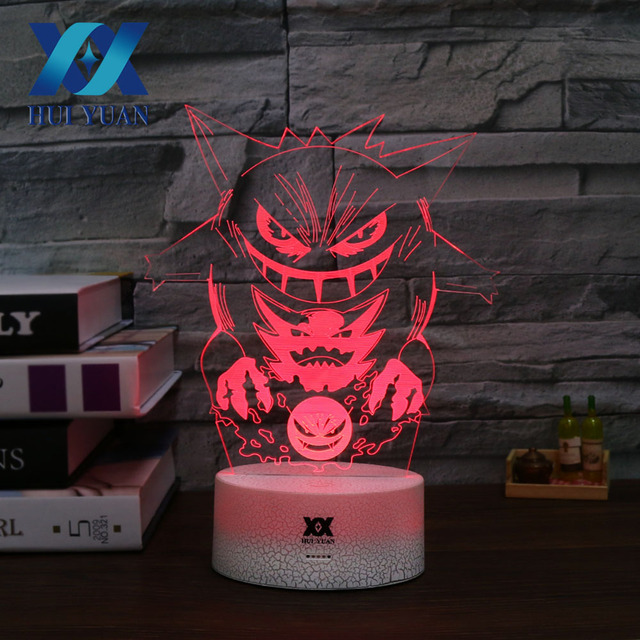Hy Gengar Night Light 7 Colors Lamp Usb Decoration Table Variable Color Not Flickering Christmas Holiday Gift