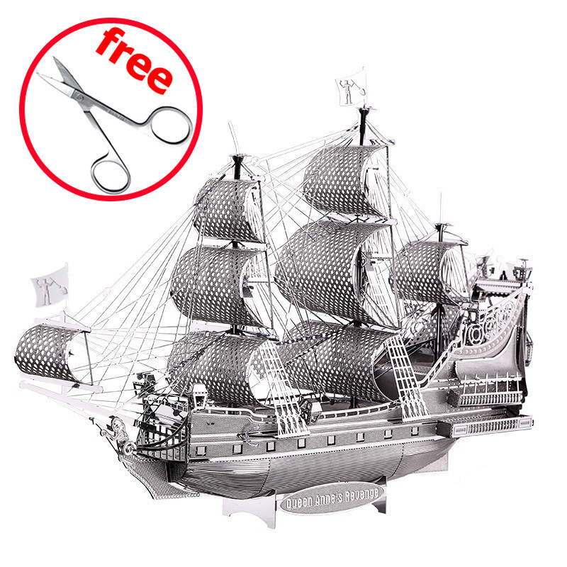 Piececool 3D Metal Puzzle Figure Toy The Queen Anne Revenge P038S Educational Puzzle 3D Models Funny Gift Toys For Children