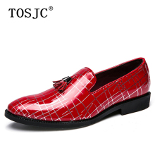 где купить TOSJC Fashion Mens Tassel Loafers Man Pointed Toe Formal Oxfords Male Casual Breathable Slip on Wedding Party Shoes Big Size 45 по лучшей цене