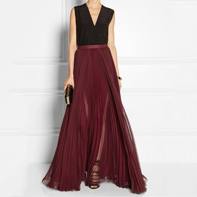 Burgundy Chiffon Maxi Skirts Pleated Women Skirts A-line Floor Length Womens  Long Skirt Chiffon PLeated Saias Gasa plisada Falda 654507103f
