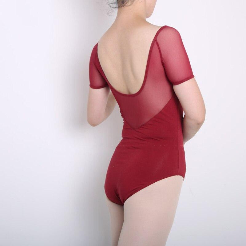 Ballet Leotards Women Lady Ballet Tights Net Yarn Short Sleeve Bodysuits Ballerina Gymnastics Leotard Practice Clothes DN1830
