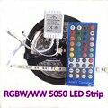 RGBW 5050 LED SMD Luz de Tira Impermeável DC12V/24 V RGB 5 M 300 Leds Flexível + Diodo Branco fita + 40key IR Remoto RGBW