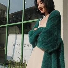 Женский Длинный свитер из искусственного меха норки, кардиган, зимнее вязаное пальто
