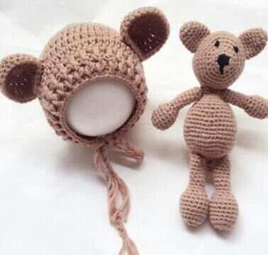 62e7fad924e Newborn Props Cute Lamb Hat Doll Set Infant Shooting Crochet Mohair Baby  Hat Newborn Studio Accessories