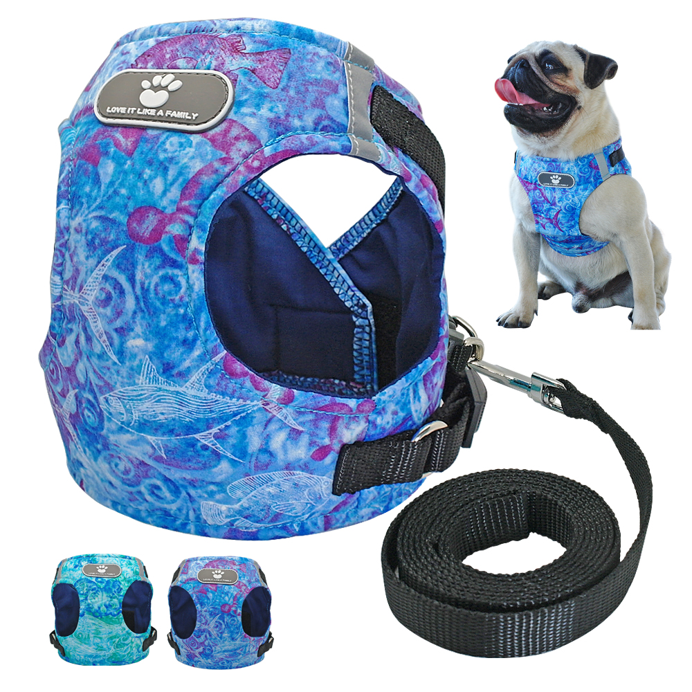 Chihuahua Dog Harness Reflective Pet Puppy Harness Vest and Leash Set French Bulldog Cat Harness For Small Meidum Dogs