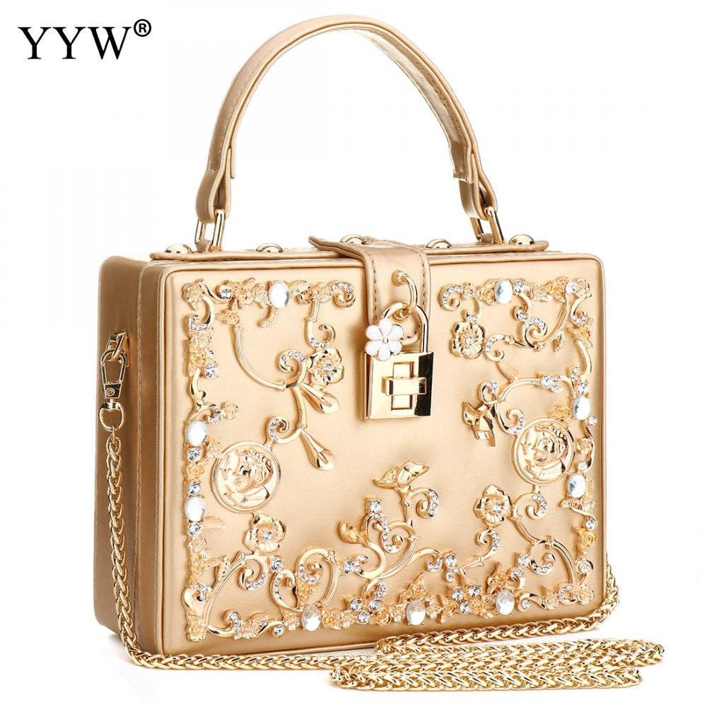 Luxury Women Bags Designer Sequin Evening Party Bag for Female Gold Tote Bag PU Leather Handbag Famous Brand Chain Crossbody Bag metallic pu chain crossbody bag