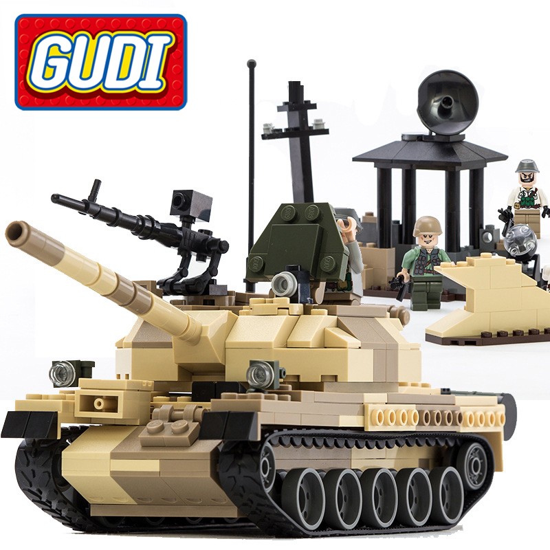 600019A 372Pcs GUDI Military War Weapon Armed T 62 Tanks Building Blocks Enlighten Figure Toys For