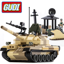 600019A 372 Pcs GUDI Arma de Guerra Militar Armado T-62 Tanques Iluminai Blocos de Construção Figura Brinquedos Para As Crianças Compatíveis Legoe