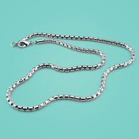 Men 925 sterling silver necklace,fashion box chain design,Men's popular silver jewelry,Solid silver necklace,5mm 51cm chain