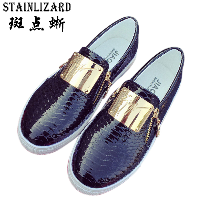 2016 New Fashion Sequined Women Flats Round Toe Platform Loafers Zipper Lazy Women Casual Shoes Big Size 36-40 ST204 2017 new spring summersweet women flats pointed sequined toe with big bowtie shoes for women cansual shoes free shipping