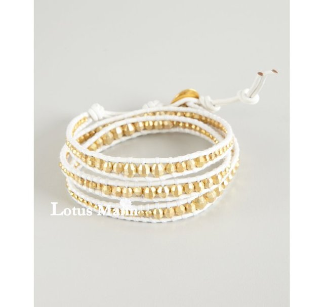 Lotus mann Gold Vermeil Wrap Bracelet on White Leather
