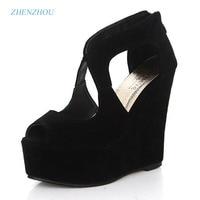 2015 Platform High Heeled Shoes Platform Sandals Female Classic Lacing Open Toe Platform Wedges Shoes Women