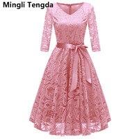 Mingli Tengda Pink/Gray Lace Mother of the Bride Dress Elegant Mother of the Bride Dresses Plus Size vestido madre de la novia