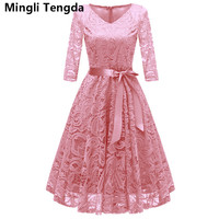 Mingli Tengda Pink/Gray Lace Mother of the Bride Dress Elegant Mother of the Bride Dresses Plus Size vestido madre de la novia