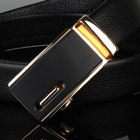 HooltPrinc Smooth Automatic Buckle Belt For Men Famous Brand Solid Strap Genuine Leather Belt Good Quality