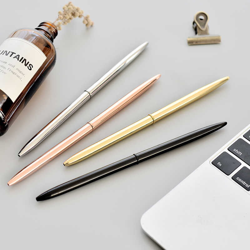 0.7mm Metal Luxury Gold Sivler Ballpoint Pens for Writing School Office Business Supplies