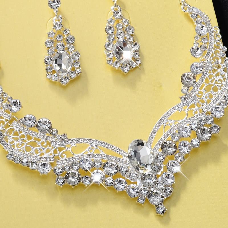Bijoux De Mariée, Femmes, Argent, Collier, Boucles D'oreilles , Bijoux Fantaisie,