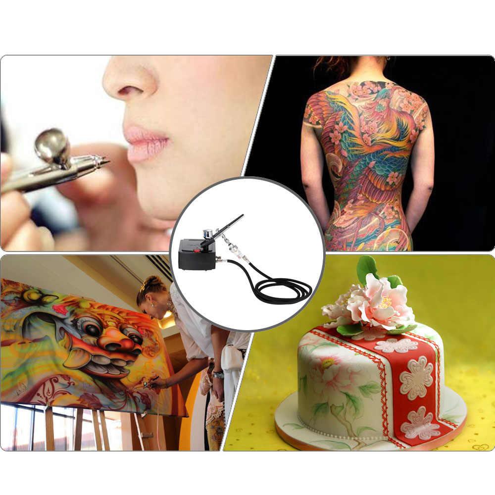 Dupla ação airbrush compressor kit ar-escova pintura pistola sandblaster sandblast arma para a arte do carro modelo tatuagem prego ferramentas conjunto