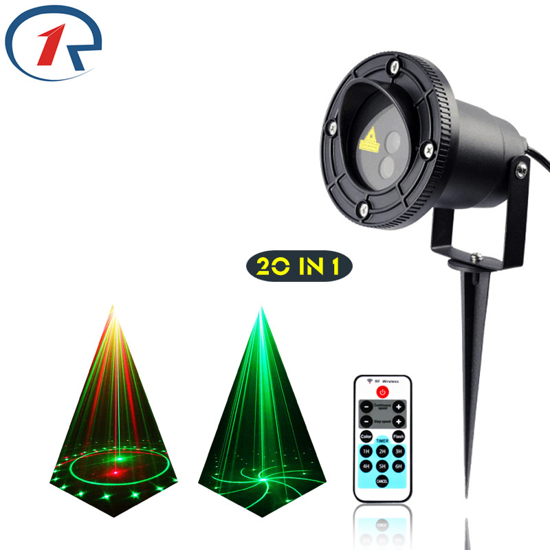 ZjRight IRリモート20パターンレッドグリーンレーザーライト屋外投影防水レーザーステージライトdjバーディスコ効果照明