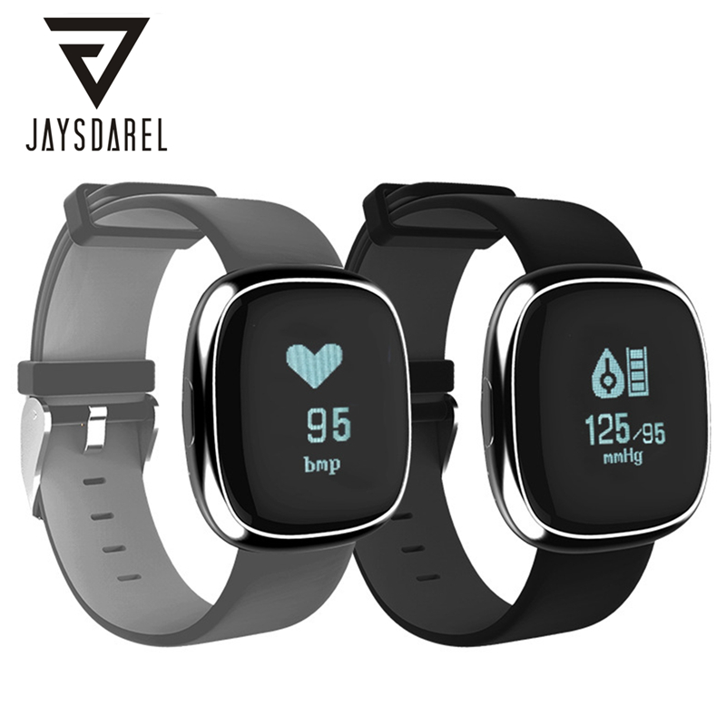 JAYSDAREL P2 Heart Rate Blood Pressure Monitor Smart Watch Fitness Tracker OLED Bluetooth Smart Wristwatch for Android iOS leegoal bluetooth smart watch heart rate monitor reminder passometer sleep fitness tracker wrist smartwatch for ios android