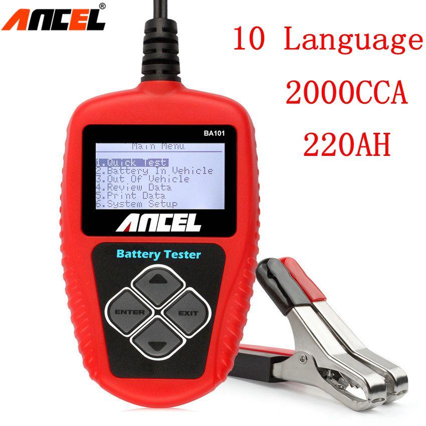Prix pour Ancel BA101 12 V Batterie De Voiture Testeur 2000CCA 12 V Batterie Numérique Analyseur Dans Mulit Langue Mauvais Cellulaire Détecteur De Batterie Outil d'analyse