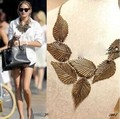 Hot sale Antique bronze leaf leaves Exaggerated big necklace trendy les nereides women accessories/colar feminino/collier femme/