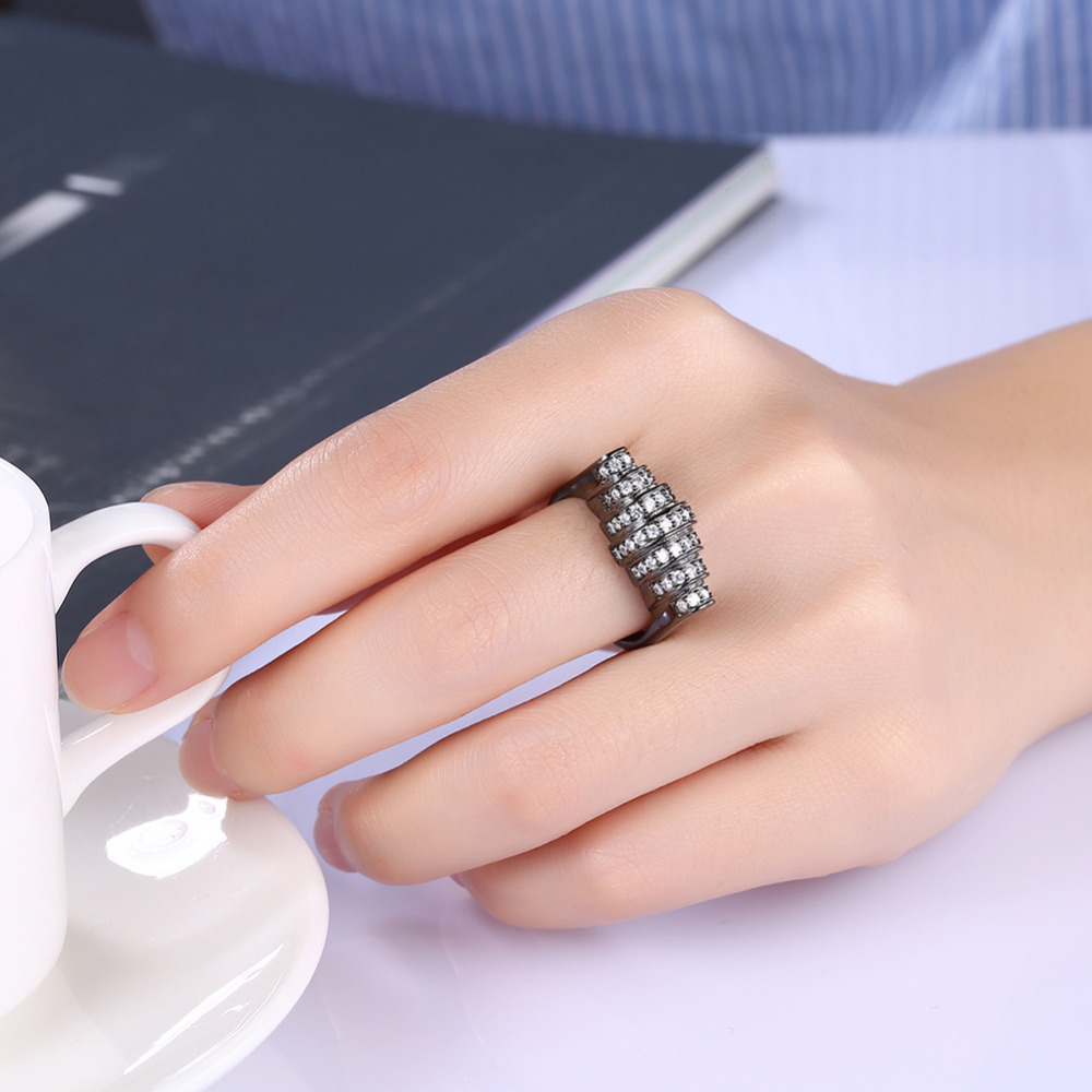 White Micro Cubic Zirconia Overlay Rings For Men / Women Black Gun ...