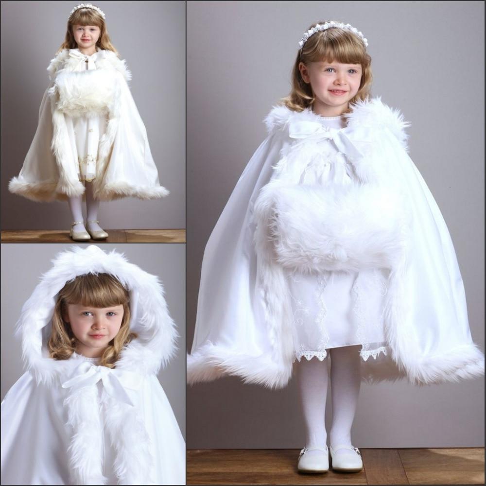 Cute 2015 Hooded Girls Cape Ivory White Wedding Cloaks