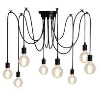 LEDGLE Classic Ceiling Lamp Vintage Pendant Lamp Industrial Style Lamp Fixture with 8 E27 Lamp Bases, Black
