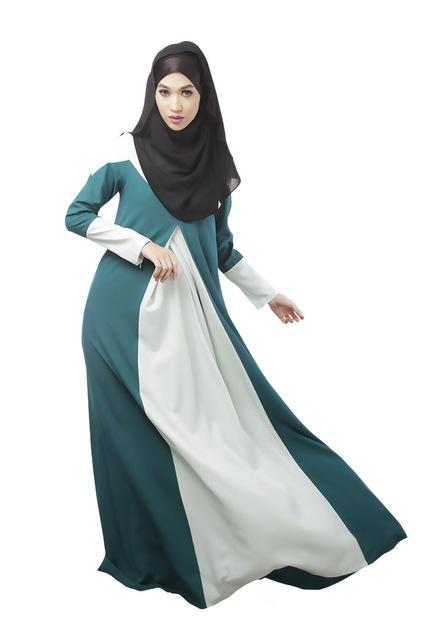 New Muslim Womens Clothing Long Sleeve O-Neck Fashion Dresses Floor-Length Elegant Loose Ethnic Islamic Kaftan