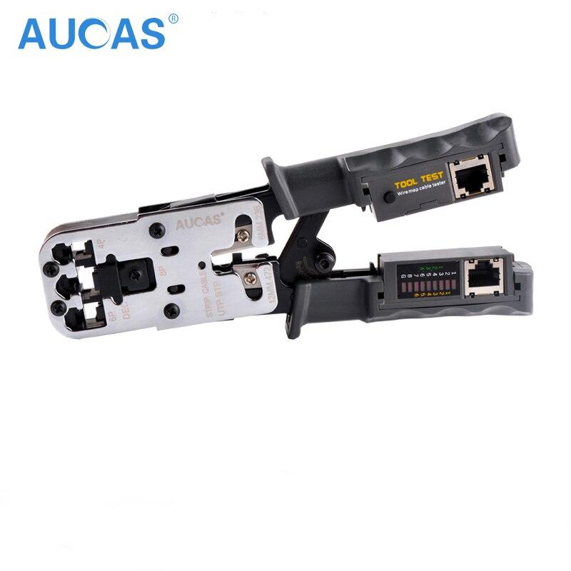 AUCAS Hohe Qualität RJ11 RJ45 Multifuction Crimper Netzwerk Crimpen Werkzeug Piler Werkzeuge Tragbare LAN WERKZEUG Crimper Stecker Clamp PC