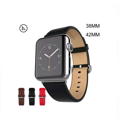 100% Genuine Leather watch band with Connector Adapter strap For 42MM 38MM Apple Watch Band for iWatch Sports Buckle Bracelet
