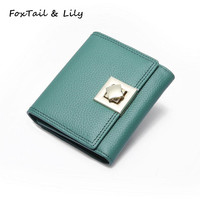 FoxTail Lily Brand Soft Genuine Real Leather Short Wallets Women Mini Change Purse Coin Pocket Card