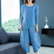 Plus Size Pant Suit Women New Miyake Pleats Solid O Neck T shirt + Loose Calf-Length for women weight 45-75kg
