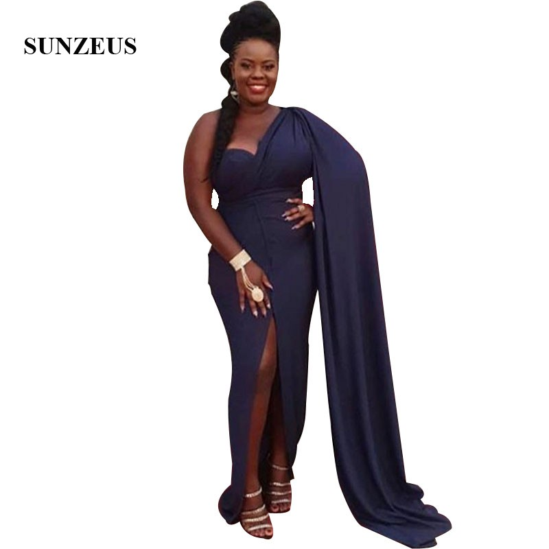 Sheath One Shoulder Navy Blue   Prom     Dress   With Watteau Train African Women Party   Dress   With Front Slit
