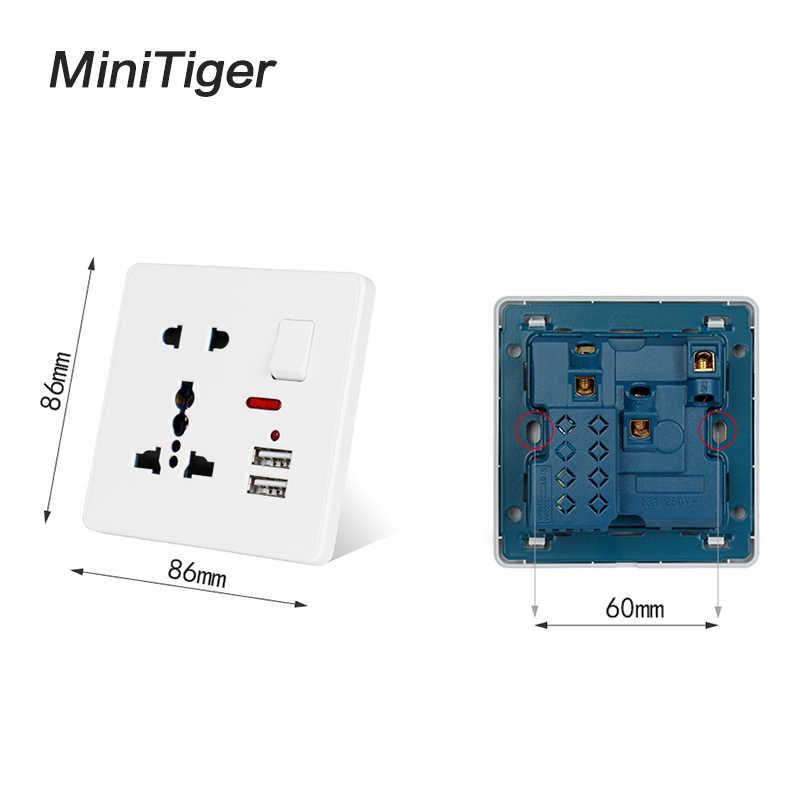 Minitiger ścienne gniazdo zasilające 13A uniwersalny 5 otwór przełączane wylot 2.1A podwójna ładowarka USB Port wskaźnik LED