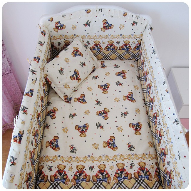 Promotion! 6PCS Embroidery bear baby bedding set 100% cotton baby bedding piece set unpick and wash (bumper+sheet+pillow cover) promotion 6pcs embroidery baby girl bedding 100
