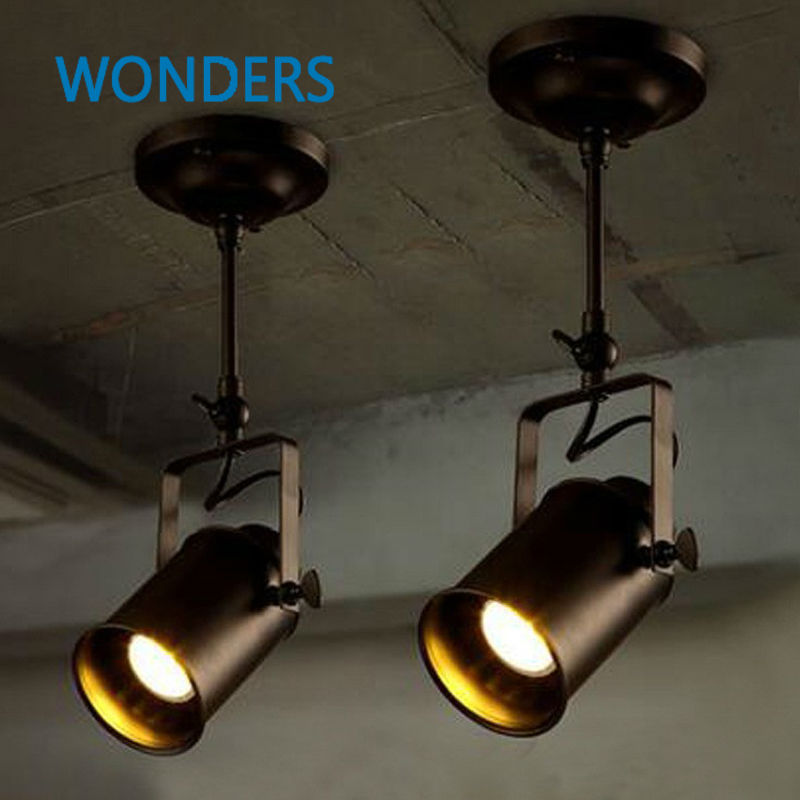 Personality creative loft bar wall probe industrial pendant light black track lights spotlights clothes store <font><b>ceiling</b></font> lamp