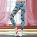 2016 New fashion high quality quick dry Leaves Women pants Leggings  Fitness  pants ankle-length pants